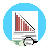 Analysis of financial crisis app icon. Financial economic crisis, recession and bankruptcy stock market. Vector illustration Stock Photos