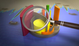 Analysis of financial data in charts. 3D Illustration analysis of financial data in charts, accounting, business finance, taxes, banking, statistics, vision for Royalty Free Stock Photo