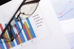 Analysis of financial reports. Paper business chart and eyeglasses Stock Photos