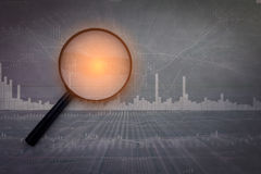 Analysis  graph chart of stock market trading. Screen Royalty Free Stock Images