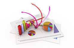 Analysis. Graphics  3d financial analysis Royalty Free Stock Photography