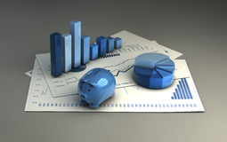 Analysis. Graphics  3d financial analysis Royalty Free Stock Photo