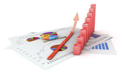 Analysis. Graphics isolated 3d financial analysis Royalty Free Stock Photos