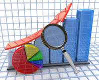 Analysis of growing business graph and pie chart and magnifying. Glass in the design of the information related to the economy Royalty Free Stock Photos