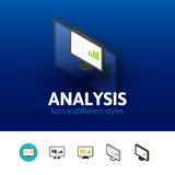 Analysis icon in different style. Analysis color icon, vector symbol in flat, outline and isometric style isolated on blur background Stock Images