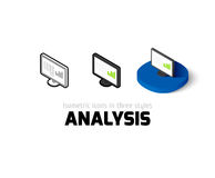 Analysis icon in different style. Analysis icon, vector symbol in flat, outline and isometric style Stock Photos