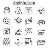 Analysis icon set in thin line style. Vector illustration graphic design Stock Photo
