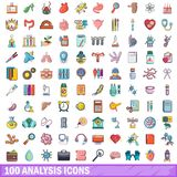 100 analysis icons set, cartoon style. 100 analysis icons set in cartoon style for any design vector illustration Royalty Free Stock Photos