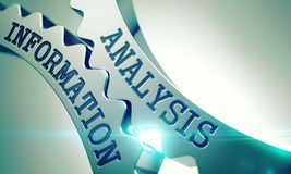 Analysis Information - Text on Mechanism of Metal Cogwheels. 3D. Royalty Free Stock Photos