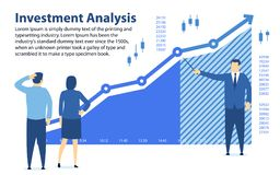 Analysis of investment. Banner in a flat style. Teaching financial literacy. The specialist shows the profit graph. Investments fo. R beginners. Profit growth Royalty Free Stock Photo