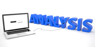 Analysis. Laptop computer connected to a word on white background. 3d render illustration Royalty Free Stock Images