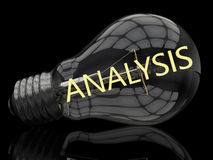 Analysis. Lightbulb on black background with text in it. 3d render illustration Royalty Free Stock Photos