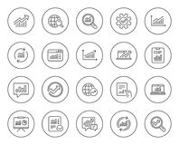 Analysis line icons. Charts, Reports and Graphs. Stock Photography