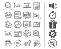 Analysis line icons. Charts, Reports and Graphs. Stock Photo