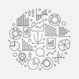Analysis linear illustration. Vector round sign made with chart, graph and diagram icons in thin line style Royalty Free Stock Photos