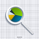 Analysis. Magnifying glass with business pie. Royalty Free Stock Photos