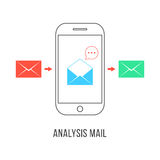 Analysis mail with colored letters and smartphone Stock Photos