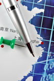Analysis and mark of business in Eastern China. Ball pen and drawing pin on eastern china map, shown as Business or industry analysis or developing, such as Royalty Free Stock Photo