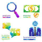 Analysis, money, bubble speach, business man Stock Image