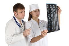 Analysis of picture. Doctor studies picture x-ray medicine Stock Images