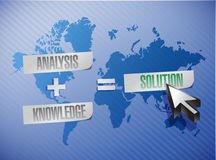 Analysis plus knowledge equal solutions. Illustration design over a blue background Stock Image