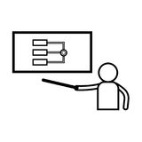 Analysis presentation icon. Business man analysing data. Chart i stock illustration Stock Images