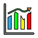 Analysis presentation icon. Business man analysing data. Stock Image