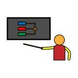Analysis presentation icon. Business man analysing data Royalty Free Stock Photos