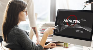 Analysis Process System Company Solution Concept. Woman working on computer analysis stock photography