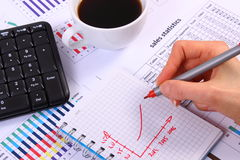 Analysis of sales plan, computer keyboard and cup of coffee, business concept Royalty Free Stock Photography