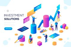 Analysis of sales, statistic grow data, accounting. Infographic illustration. Bank development economics strategy. Commerce solutions for investments, analysis vector illustration