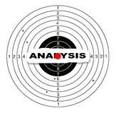 Analysis. Shooting target with word analysis made in 2d software stock illustration