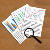 Analysis of statistical data. Research optimization financial infographic, business analytics illustration Stock Image