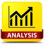 Analysis (statistics icon) yellow square button red ribbon in mi Royalty Free Stock Photo
