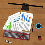 Analysis of statistics. Office productivity working, finance efficiency economics, vector illustration Stock Photo