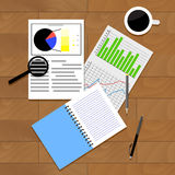 Analysis of statistics vector. Top view rofessional report statistic and forecast illustration Royalty Free Stock Image