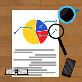 Analysis of statistics. Workplace with chart and coffee, vector illustration Stock Photography