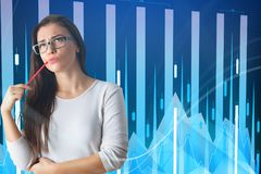 Analysis and stock concept. Portrait of thinking young european businesswoman with forex chart on blurry background. Analysis and stock concept. Double exposure stock images