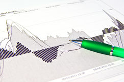 Analysis of stock market graphs Stock Images