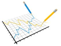 Analysis of stock market success and crisis graph. 3d Royalty Free Stock Photos