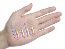 Analysis target graph on your hand Royalty Free Stock Photo