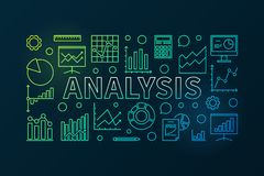 Analysis vector colorful horizontal banner. Or illustration in outline style on dark background Royalty Free Stock Photo
