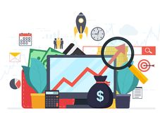 Analysis web analytics and business development statistics. Modern concept of  business strategy, search information, digital marketing, investment management Stock Photos