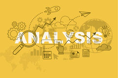 Analysis website banner concept with thin line flat design royalty free illustration