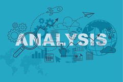 Analysis website banner concept with thin line flat design. Vector illustration eps-10 Stock Images
