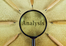 Analysis. Word Analysis under magnifying glass on vintage background Stock Photo
