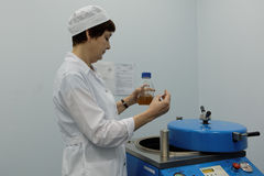 Analyst of chemical-biological enterprise Vita makes a test stock photography