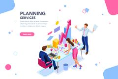Analyst Planner Earning Financial Banner. Analyst, financial banner. Planner, corporate earning calculate, data discussion. Consultant concept, characters, text vector illustration