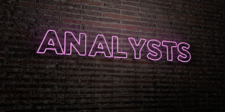 ANALYSTS -Realistic Neon Sign on Brick Wall background - 3D rendered royalty free stock image Royalty Free Stock Photos