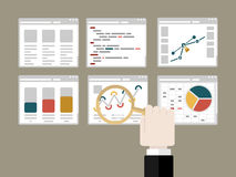Analytic. Flat design modern vector illustration concept of analytic with computer windows and hand holding magnifier glass royalty free illustration